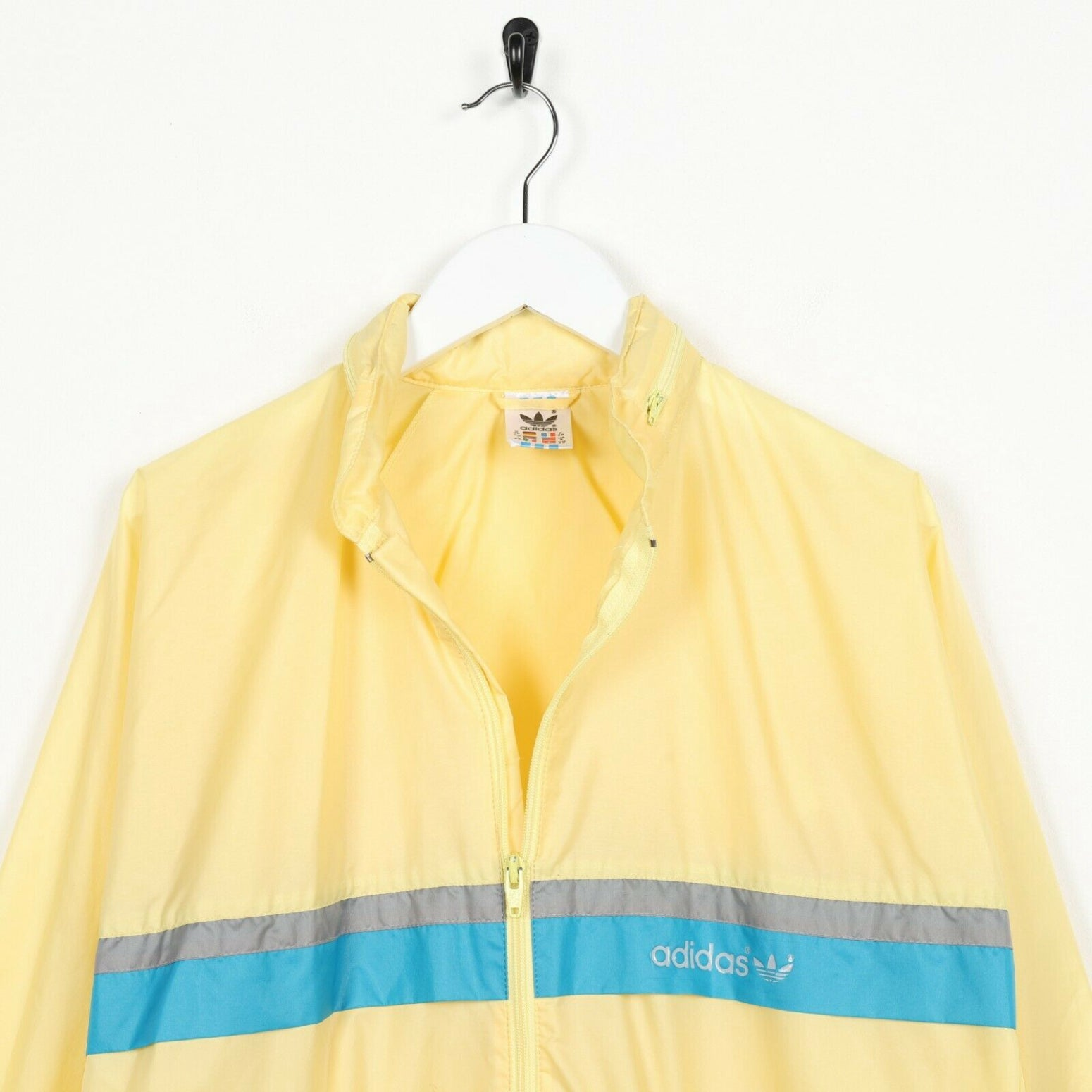 Vintage Women's 80s ADIDAS Small Logo Lightweight Anorak Jacket Yellow | UK 10