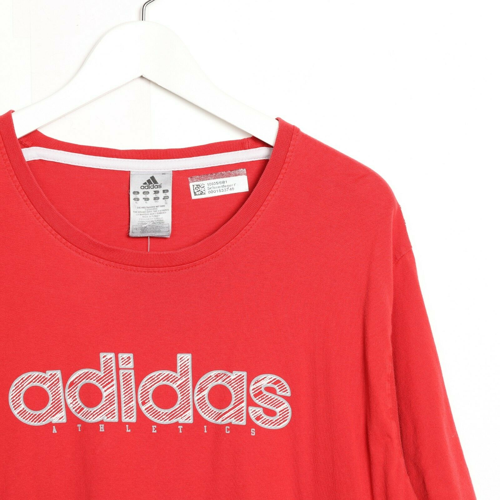 Vintage ADIDAS Big Spell Out Logo T Shirt Tee Red XL