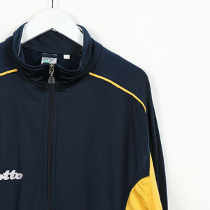 Vintage LOTTO Small Spell Out Track Top Jacket Navy Yellow | Large L