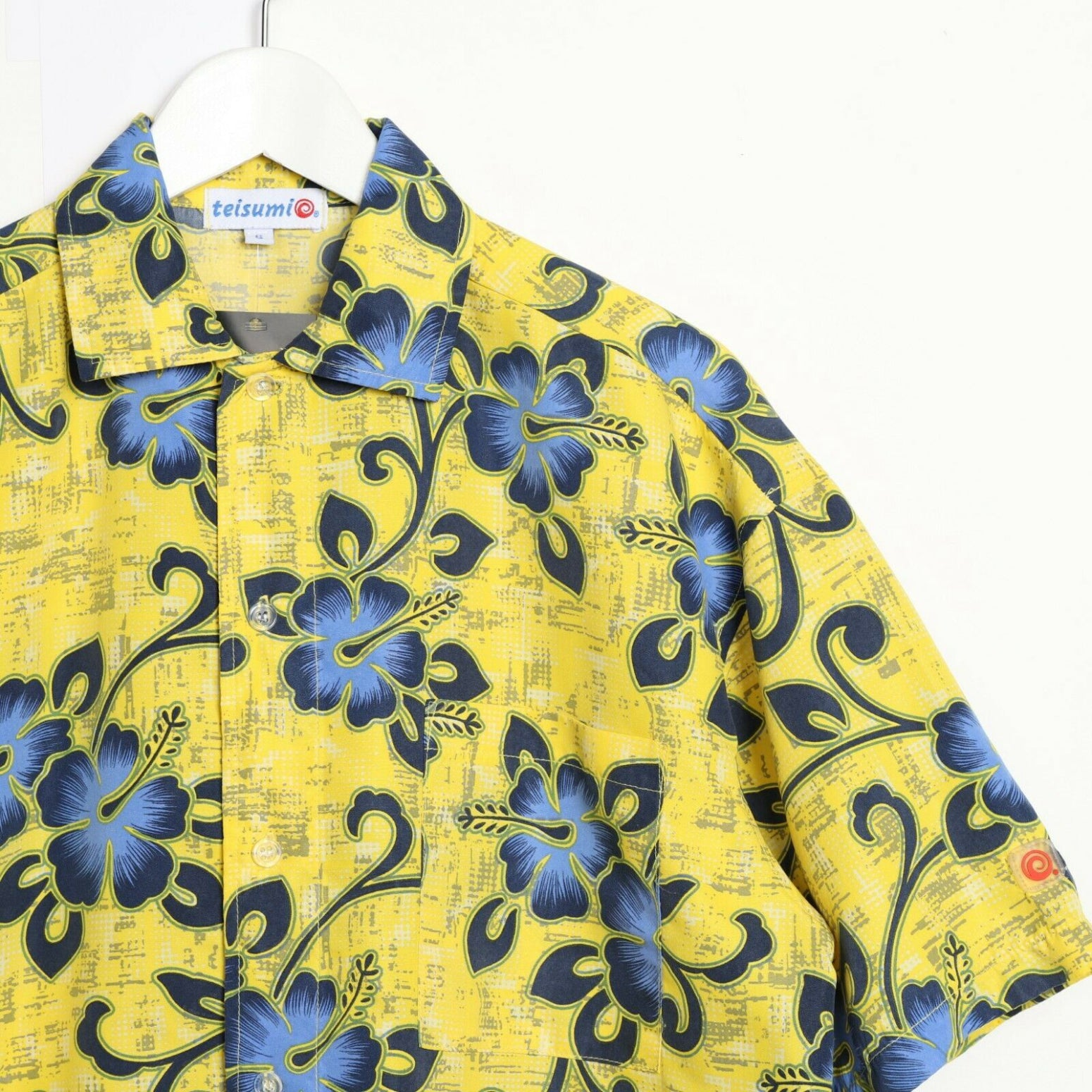 Vintage 90s ABSTRACT Short Sleeve Festival Party Shirt Yellow Medium M