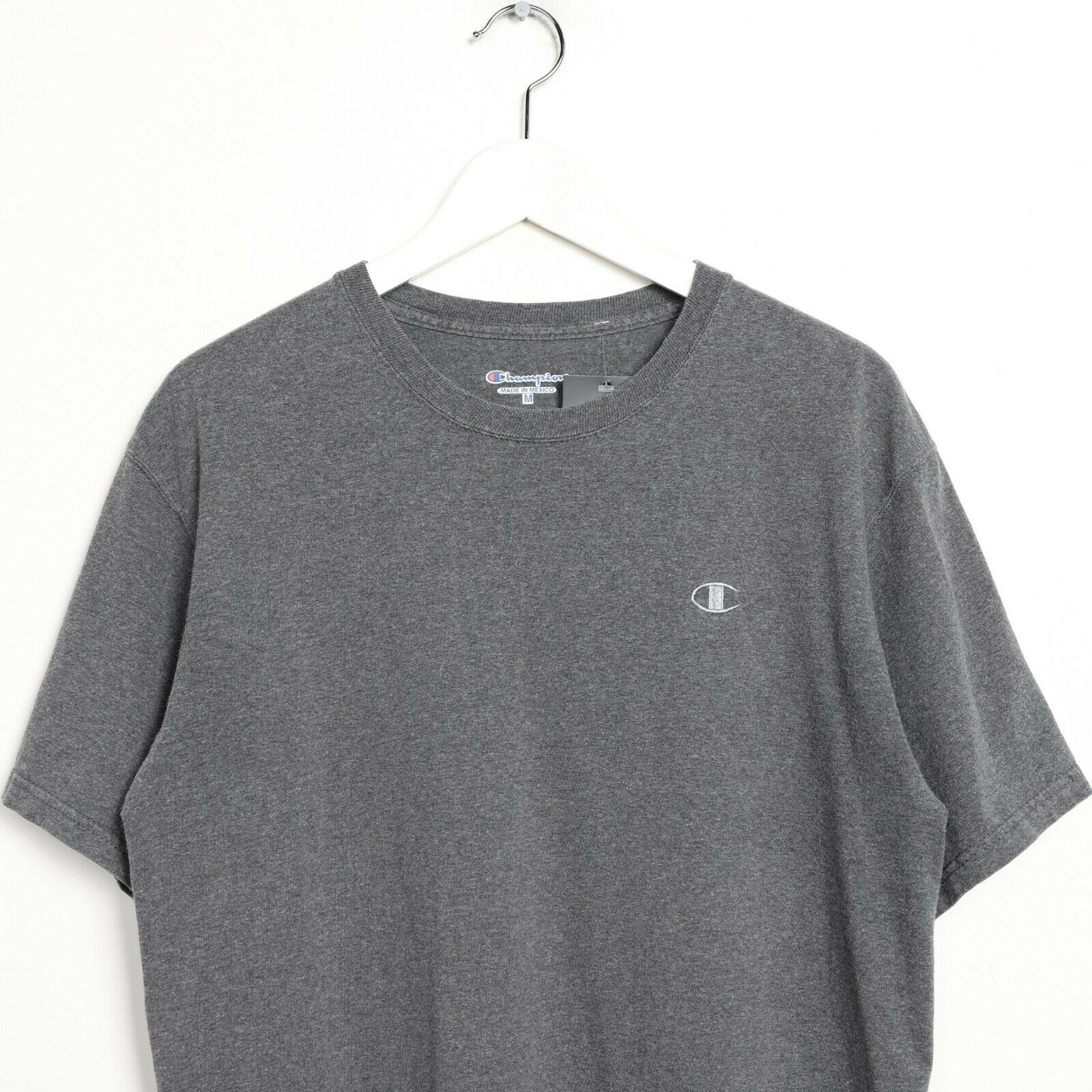 Vintage CHAMPION Small Logo T Shirt Tee Grey Medium M