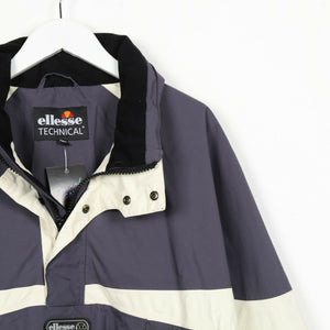 Vintage ELLESSE Technical Centra Logo 1/4 Zip Jacket Coat Blue | Medium M