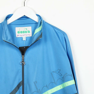 Vintage 90s DIADORA Small Logo Zip Up Track Top Jacket Blue | Large L