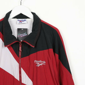 Vintage REEBOK Small Logo Soft Shell Windbreaker Jacket Red | XL
