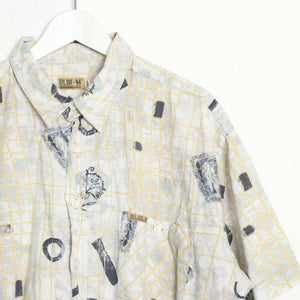 Vintage 90s ABSTRACT Short Sleeve Festival Party Shirt Beige 2XL