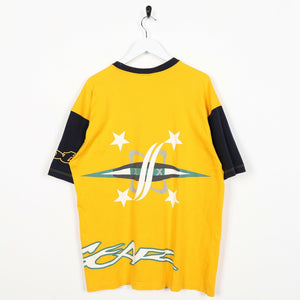 Vintage 90s LOTTO Back Logo Sleeve Spell Out T Shirt Tee Yellow Navy | Large L