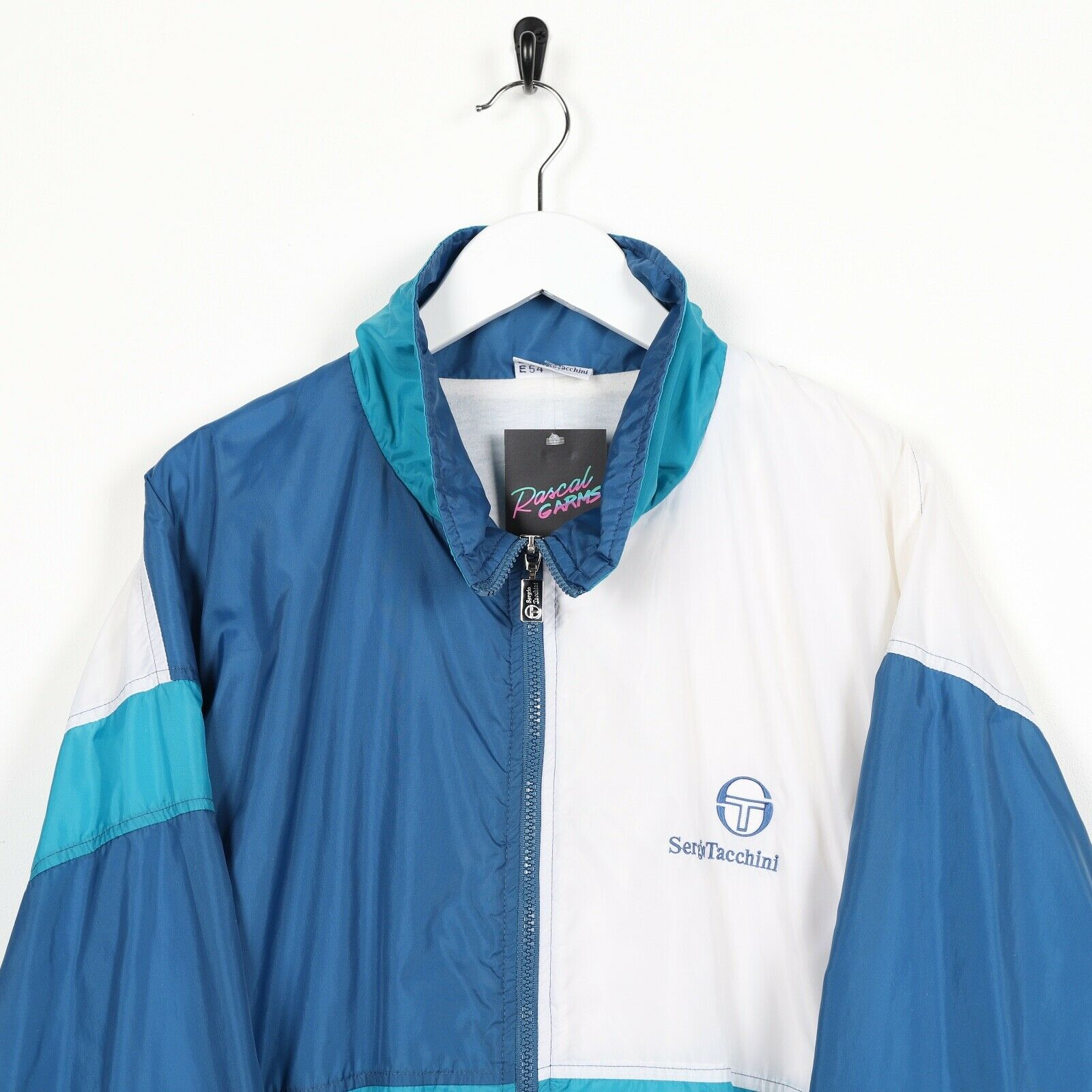 Vintage 90s SERGIO TACCHINI Soft Shell Windbreaker Jacket Blue White XL