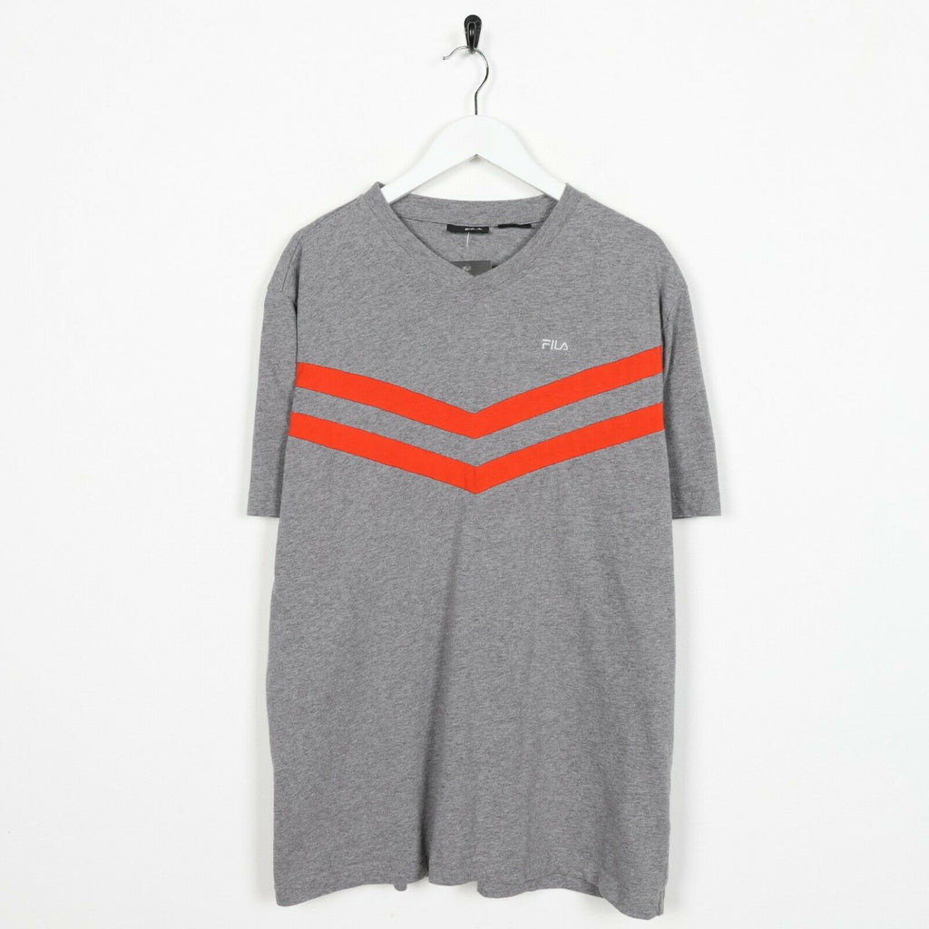 Vintage FILA Small Logo T Shirt Tee Grey | Large L