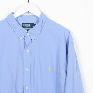 Vintage RALPH LAUREN Small Logo Long Sleeve Shirt Blue | 2XL