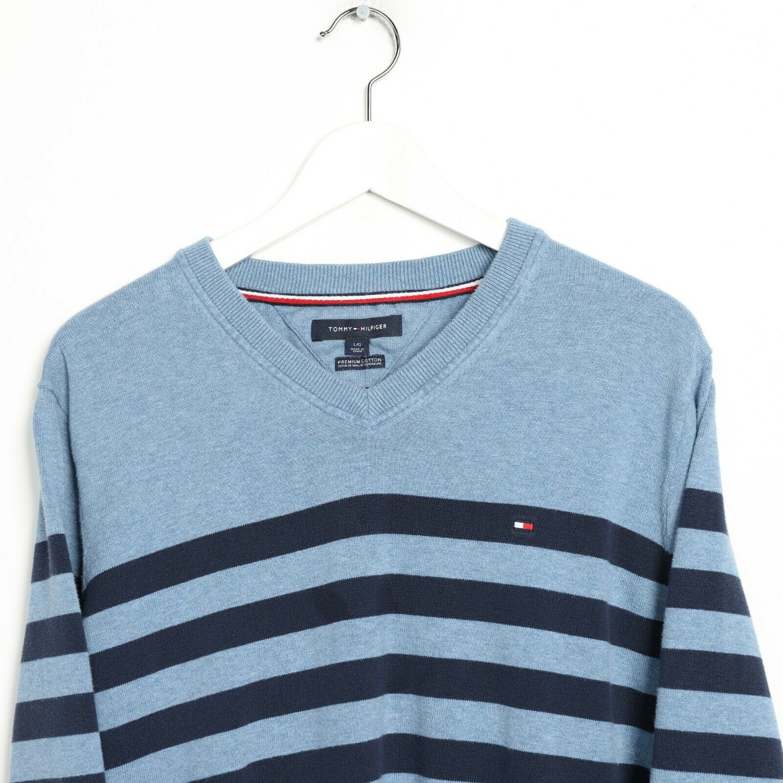 Vintage TOMMY HILFIGER Small Logo Striped Lightweight Sweatshirt Blue Medium M
