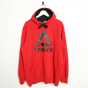 Vintage REEBOK Big Logo Hoodie Sweatshirt Red XL