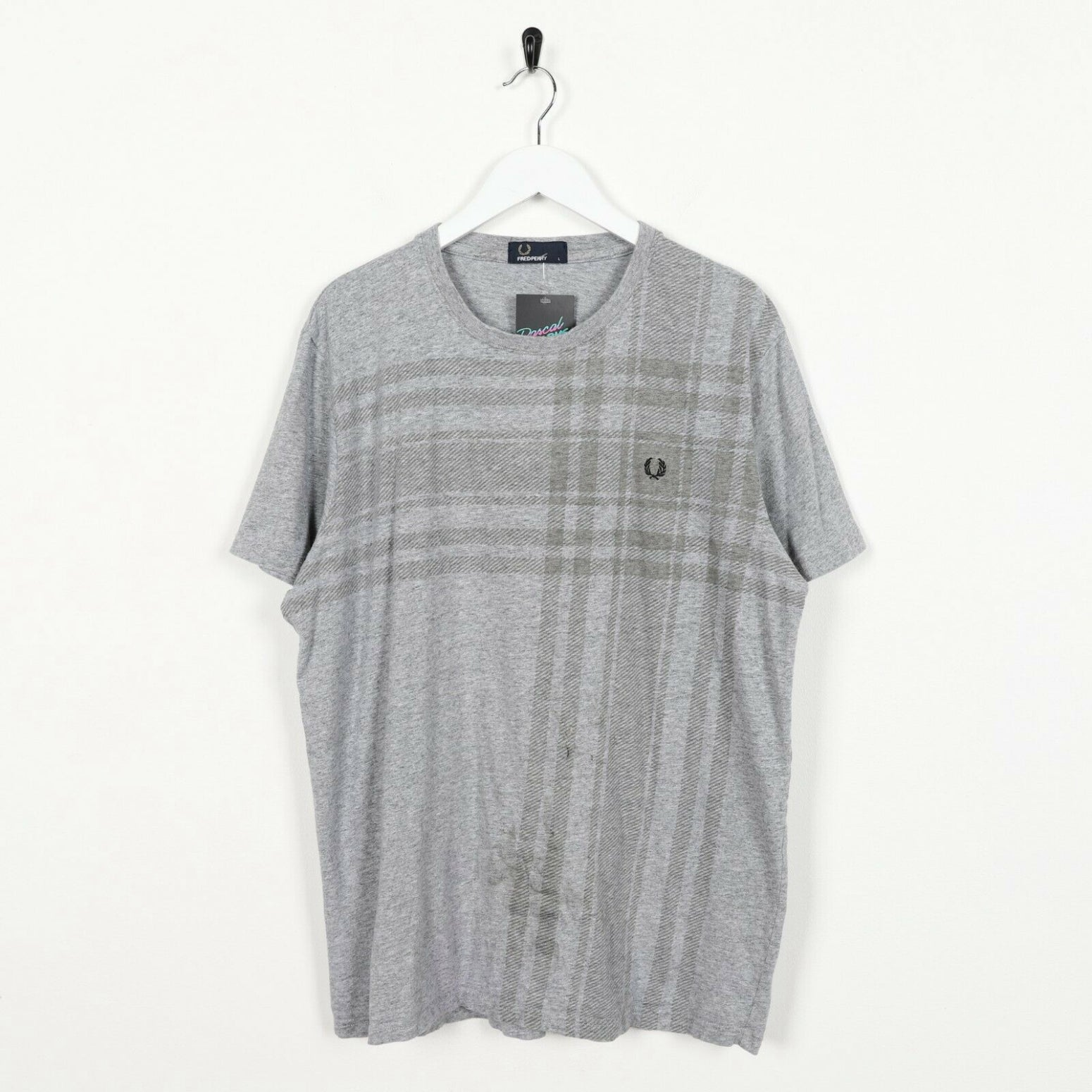 Vintage FRED PERRY Small Logo Check T Shirt Tee Grey Large L