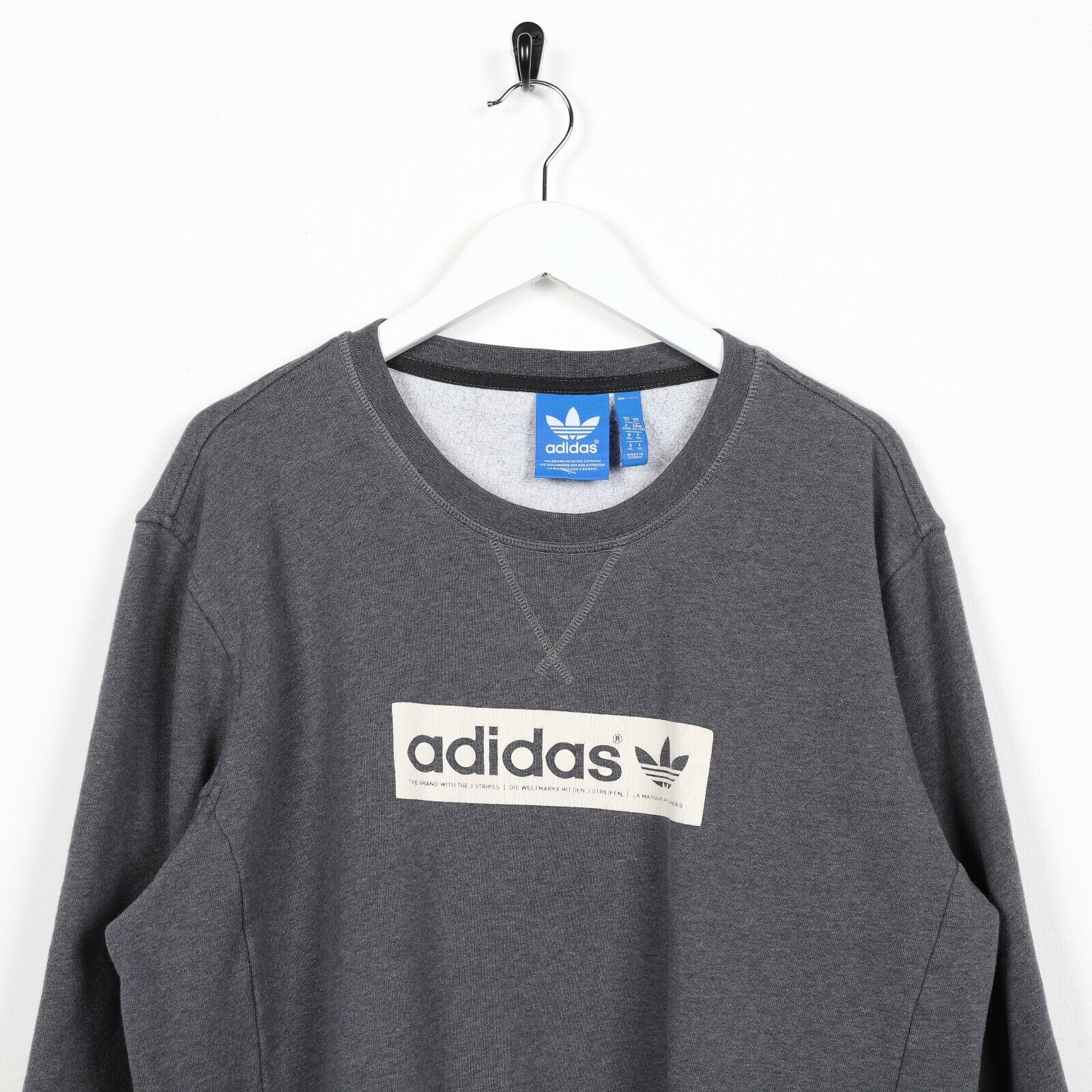 Vintage ADIDAS ORIGINALS Spell Out Sweatshirt Jumper Blue | XL