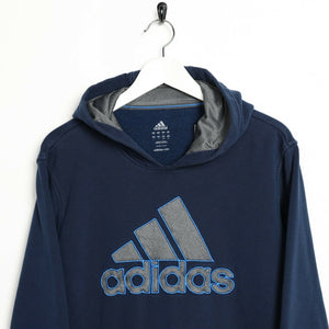 Vintage ADIDAS Big Logo Hoodie Sweatshirt Navy Blue Large L