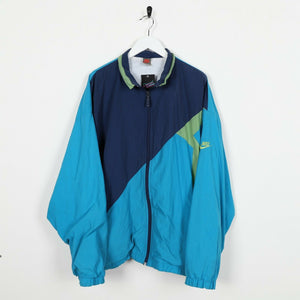 Vintage 90s NIKE Sleeve Logo Soft Shell Windbreaker Jacket Blue | Large L