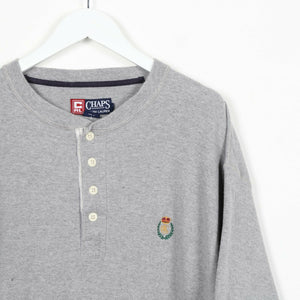 Vintage CHAPS RALPH LAUREN Crest Logo Button Neck T Shirt Tee Grey | Large L