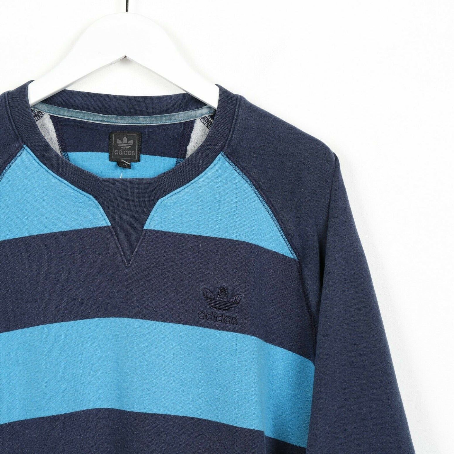 Vintage ADIDAS ORIGINALS Small Logo Striped Sweatshirt Jumper Blue XL