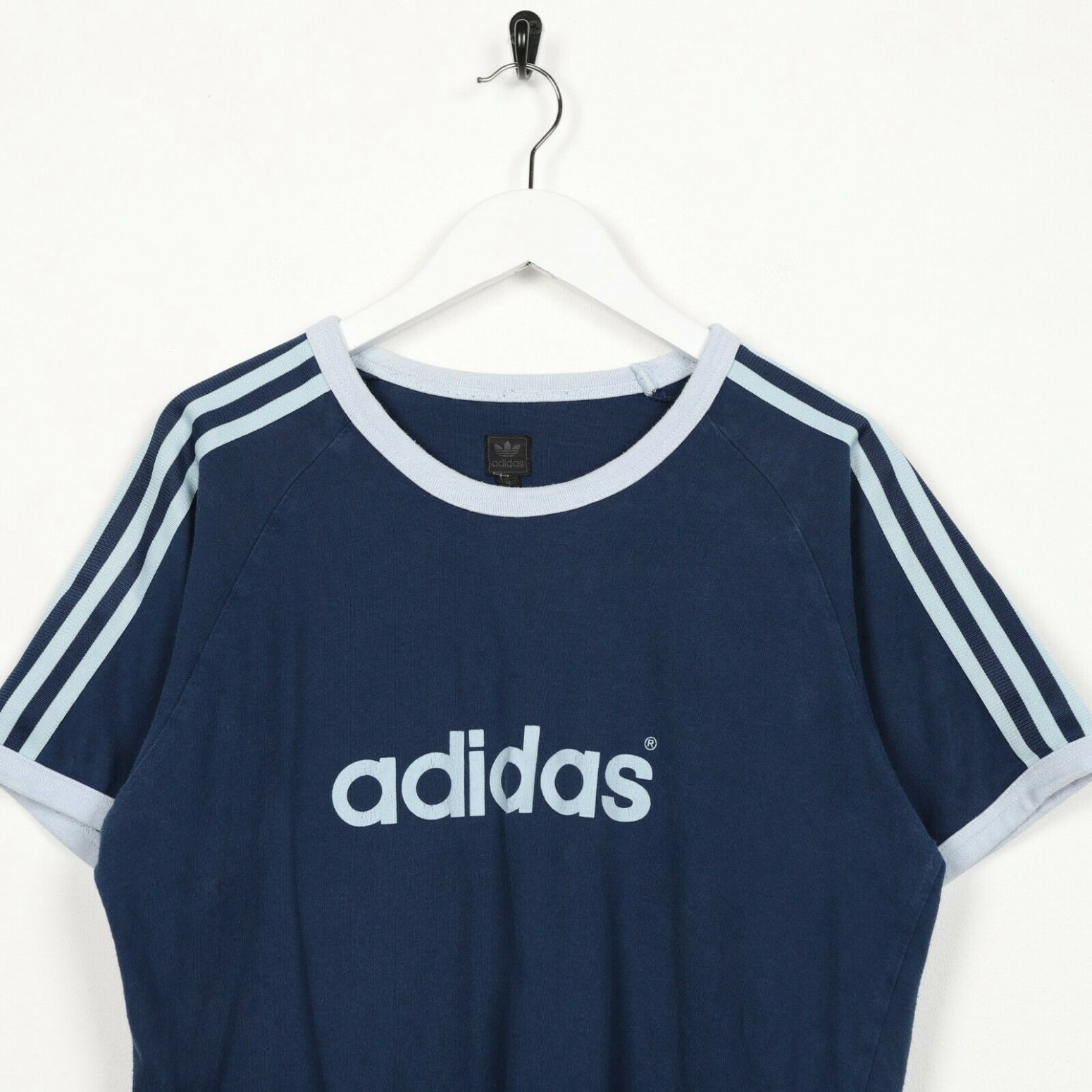 Vintage ADIDAS ORIGINALS Spell Out T Shirt Tee Blue Medium M