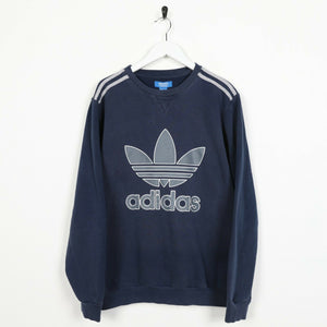 Vintage ADIDAS ORIGINALS Small Logo Sweatshirt Jumper Blue Medium M