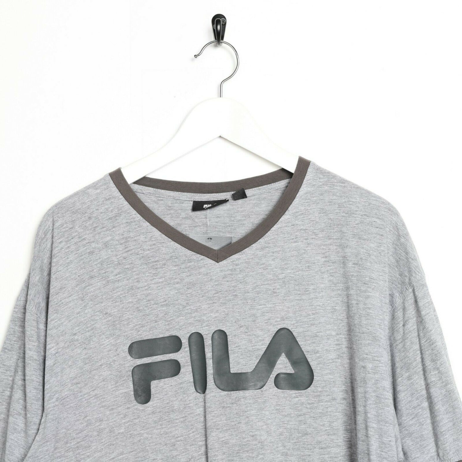 Vintage FILA Big Logo T Shirt Tee Grey 2XL