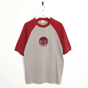 Vintage NIKE Big Central Logo T Shirt Tee Grey Red | Medium M