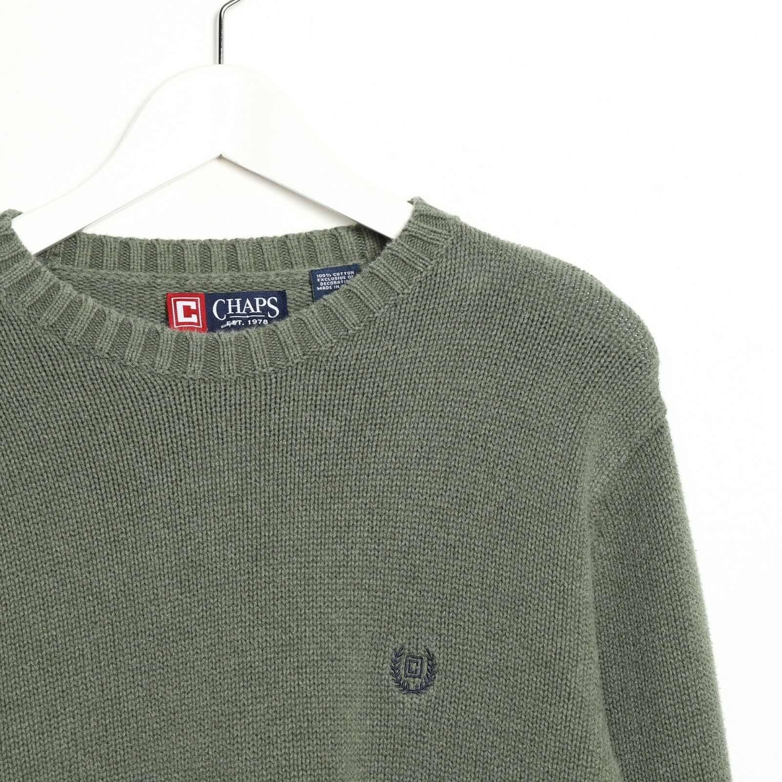 Vintage CHAPS RALPH LAUREN Small Crest Logo Knitted Sweatshirt Green | Small S