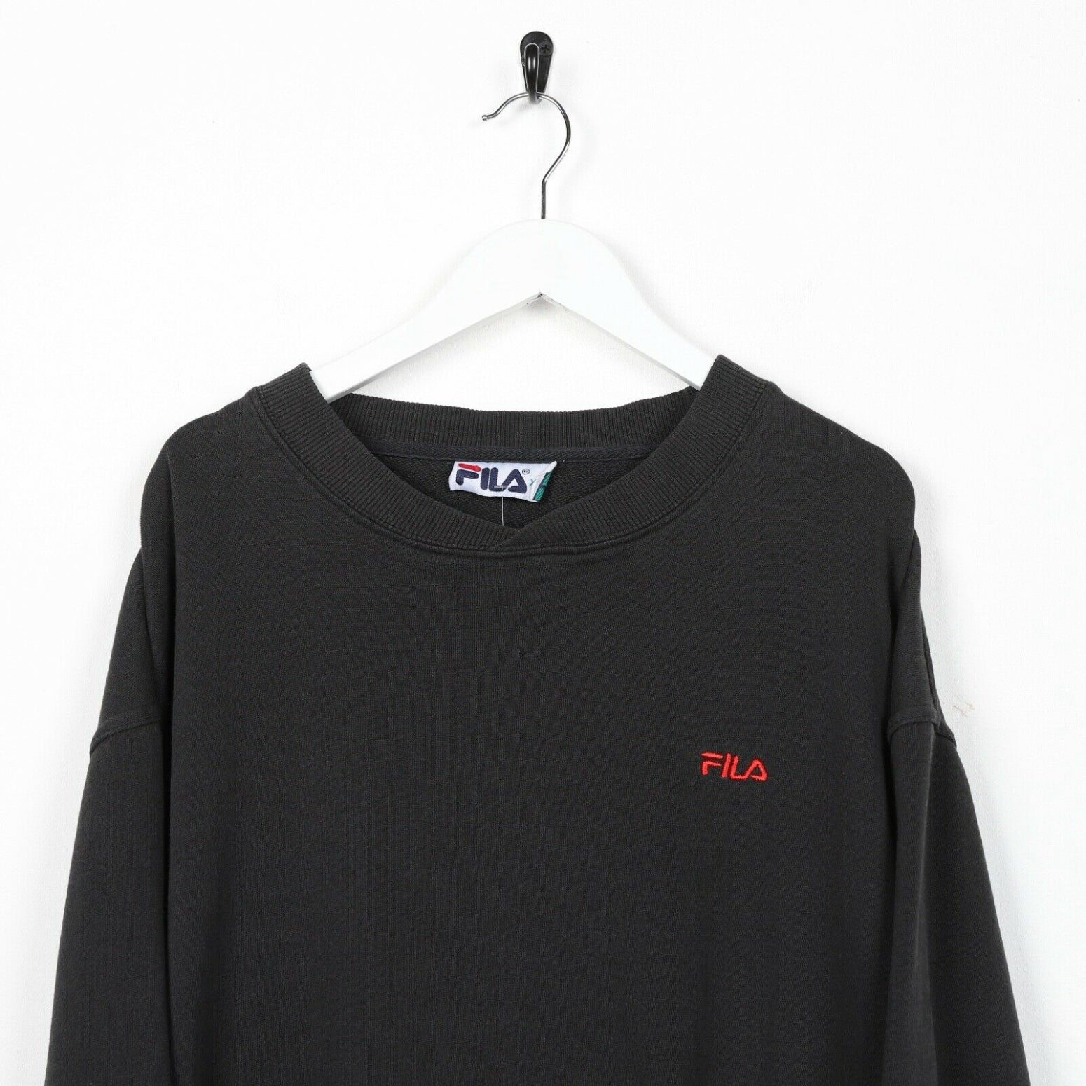 Vintage 90s FILA Small Logo Sweatshirt Jumper Black | 2XL