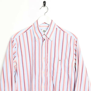 Vintage LACOSTE Small Logo Striped Long Sleeve Shirt Blue Pink | Medium M