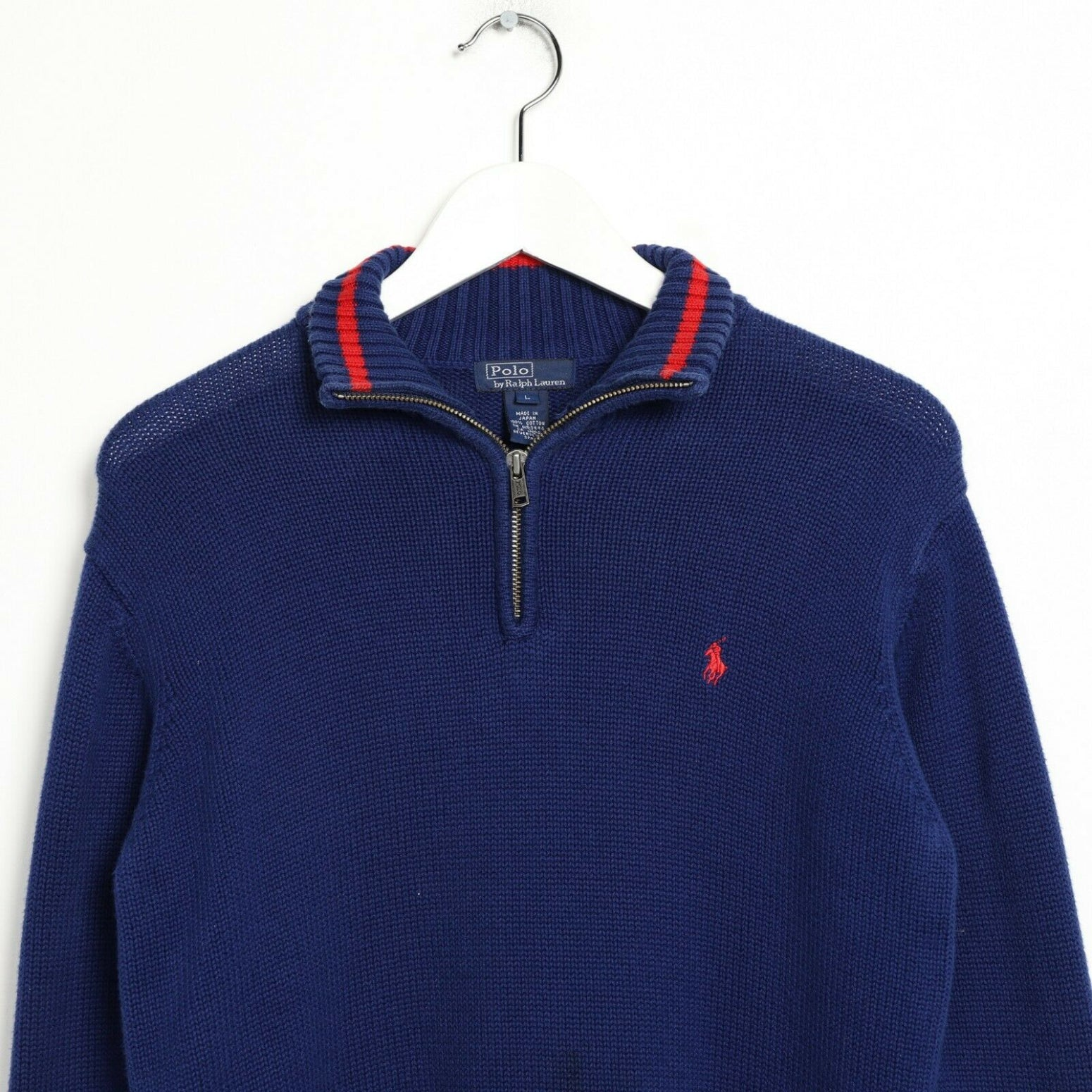 Vintage RALPH LAUREN Small Logo 1/4 Zip Sweatshirt Jumper Blue small S