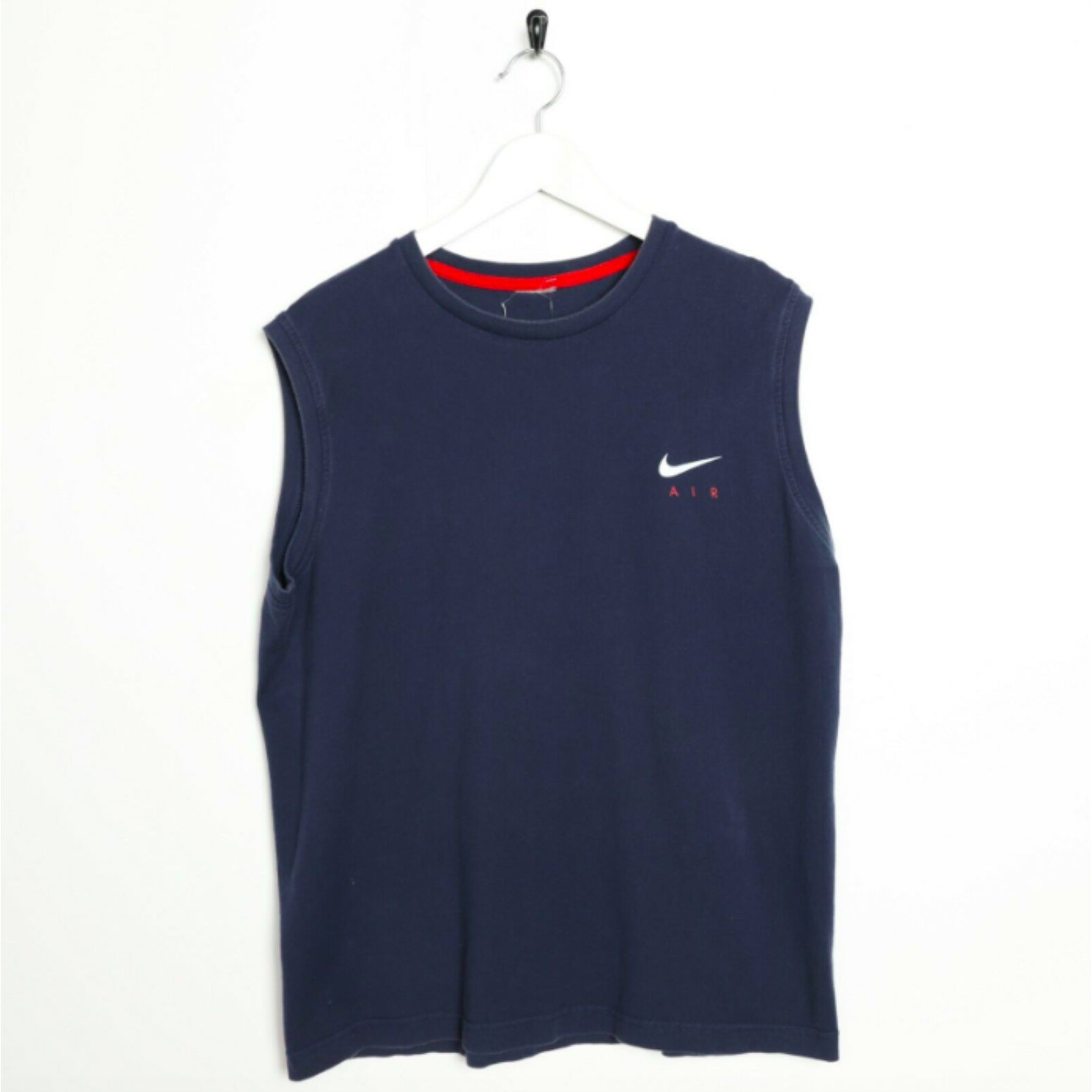 Vintage NIKE AIR Back Logo Sleeveless T Shirt Tee Vest Navy Blue | Large L
