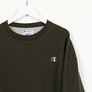 Vintage 90's CHAMPION Small Logo Sweatshirt Jumper Green | XL