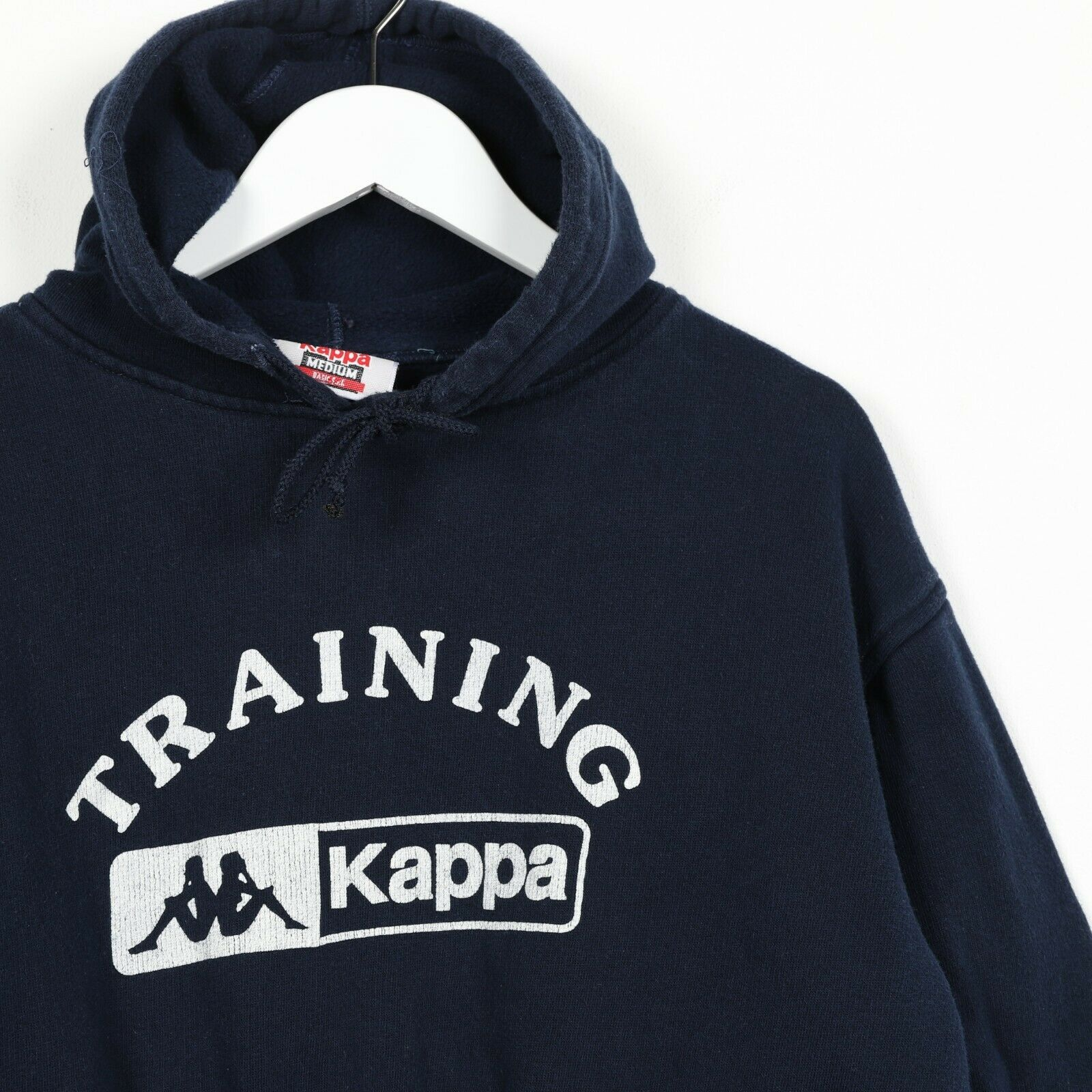 Vintage Women's 90s KAPPA Big Logo Hoodie Sweatshirt Blue Small s