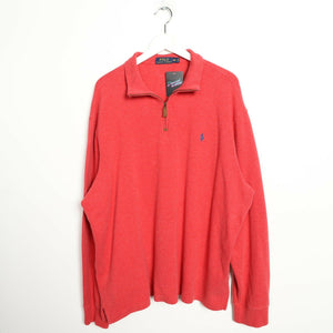 Vintage RALPH LAUREN Small Logo 1/4 Zip Sweatshirt Jumper Light Red 2XL