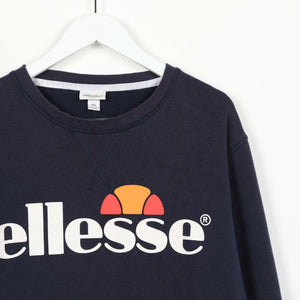 Vintage ELLESSE Big Spell Out Logo Sweatshirt Jumper Navy Blue 2XL