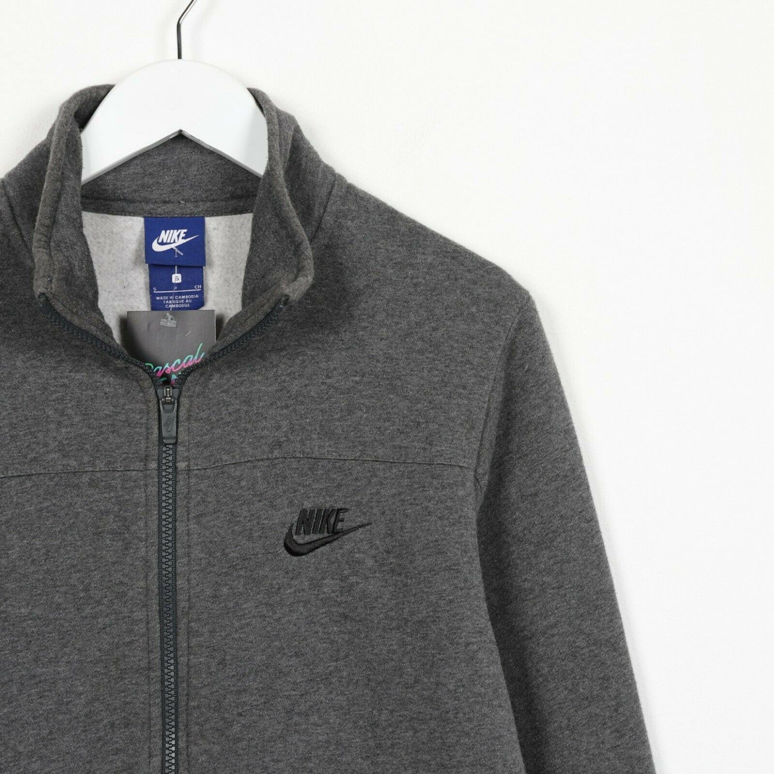 Vintage NIKE Small Logo Zip Up Sweatshirt Jumper Grey small S