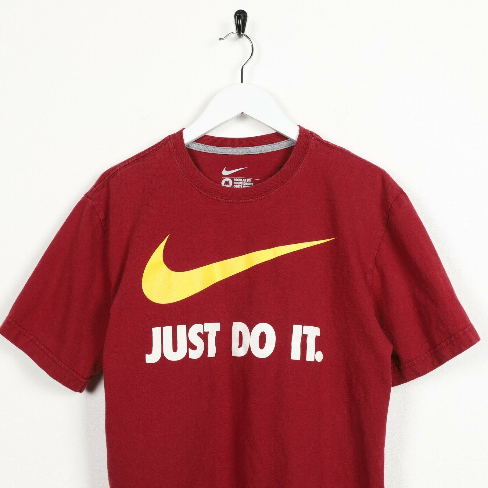 Vintage NIKE Just Do It Big Swoosh Logo T Shirt Tee Burgundy Red | Medium M