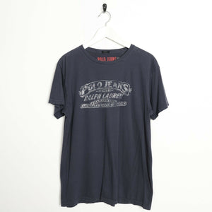 Vintage Ralph Lauren Big Logo T Shirt Tee Navy Blue Medium M