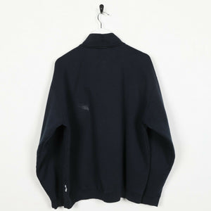 Vintage REEBOK Small Logo 1/4 Zip Sweatshirt Jumper Navy Blue | Small S