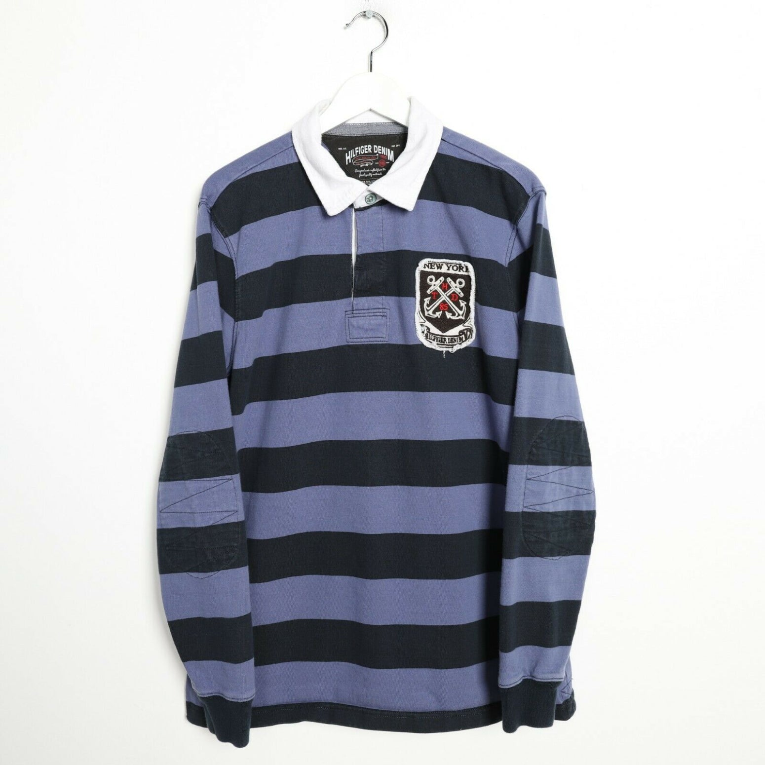 Vintage TOMMY HILFIGER Denim Striped Rugby Polo Shirt Top Navy Blue XL