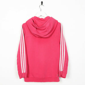Vintage Women's ADIDAS Small Logo Zip Up Hoodie Sweatshirt Pink | Medium M
