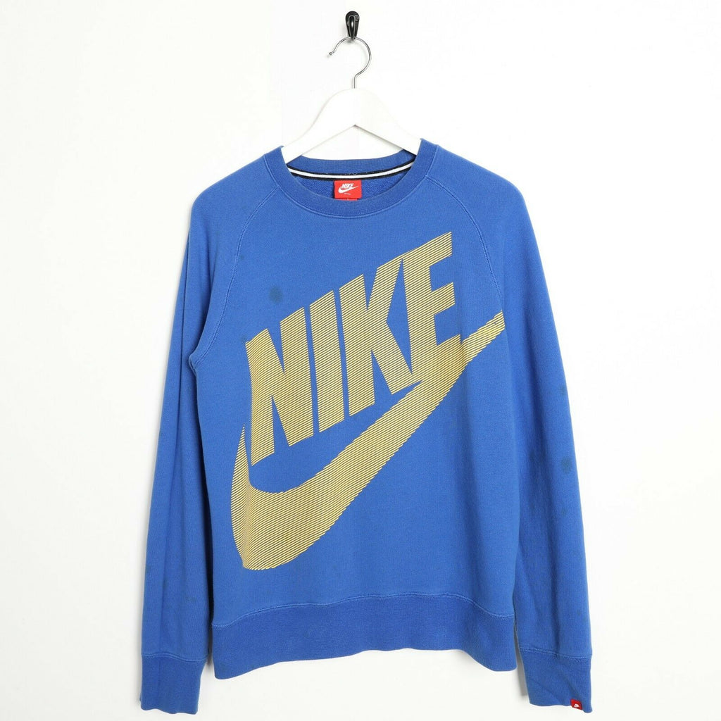 Vintage NIKE Big Logo Sweatshirt Jumper Blue Medium M