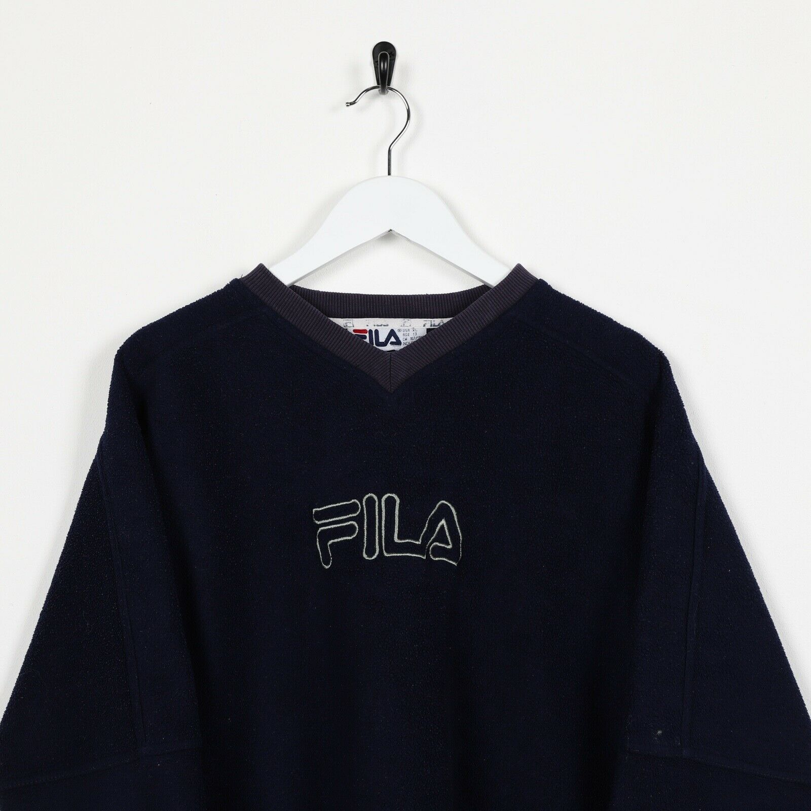 Vintage FILA Spell Out Fleece Sweatshirt Top Navy Blue Medium M