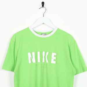 Vintage NIKE Big Central Spell Out Logo T Shirt Tee Green Small S