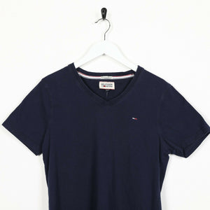 Vintage TOMMY HILFIGER Small Logo V Neck T Shirt Tee Navy Blue | Small S