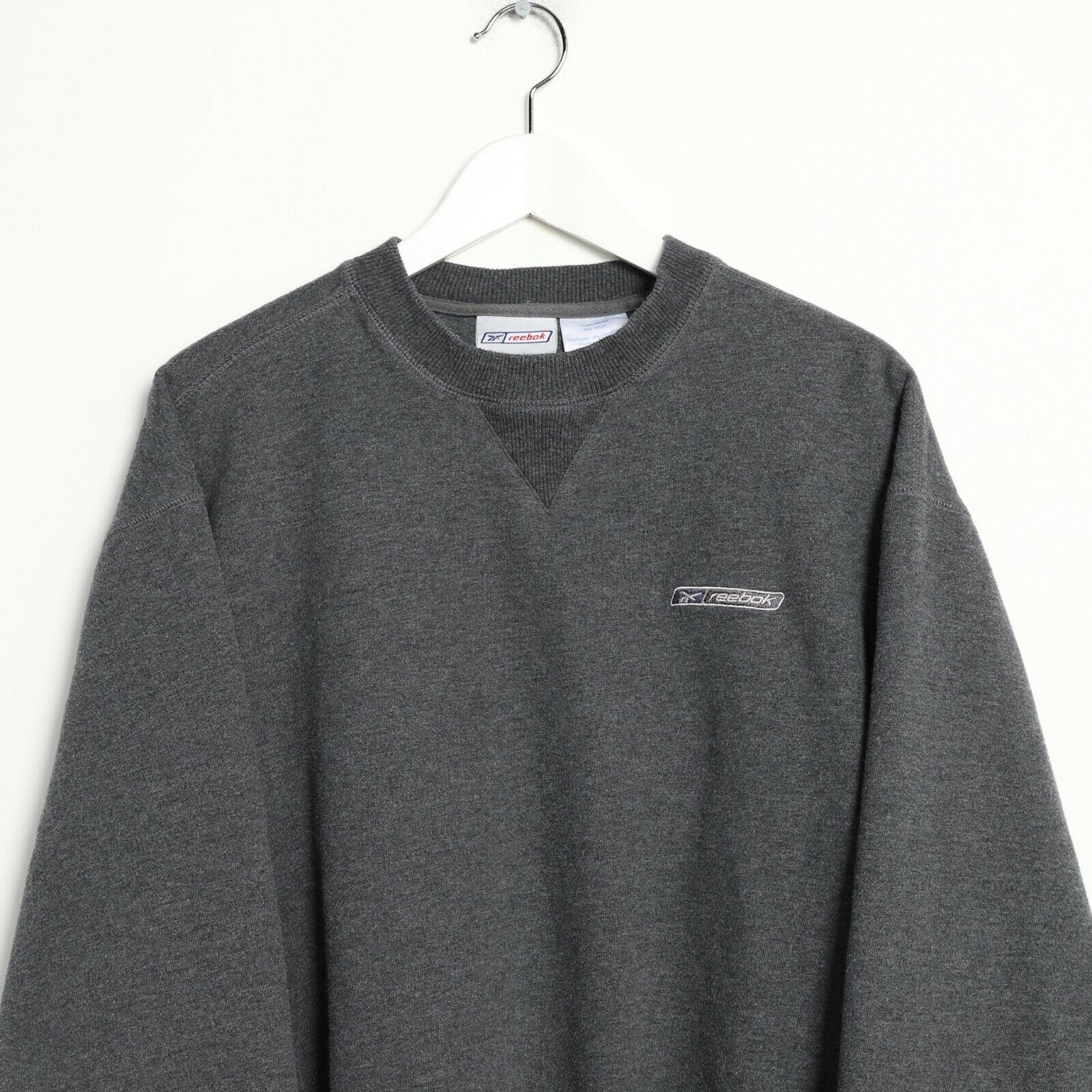 Vintage REEBOK Small Logo Sweatshirt Jumper Grey | Large L