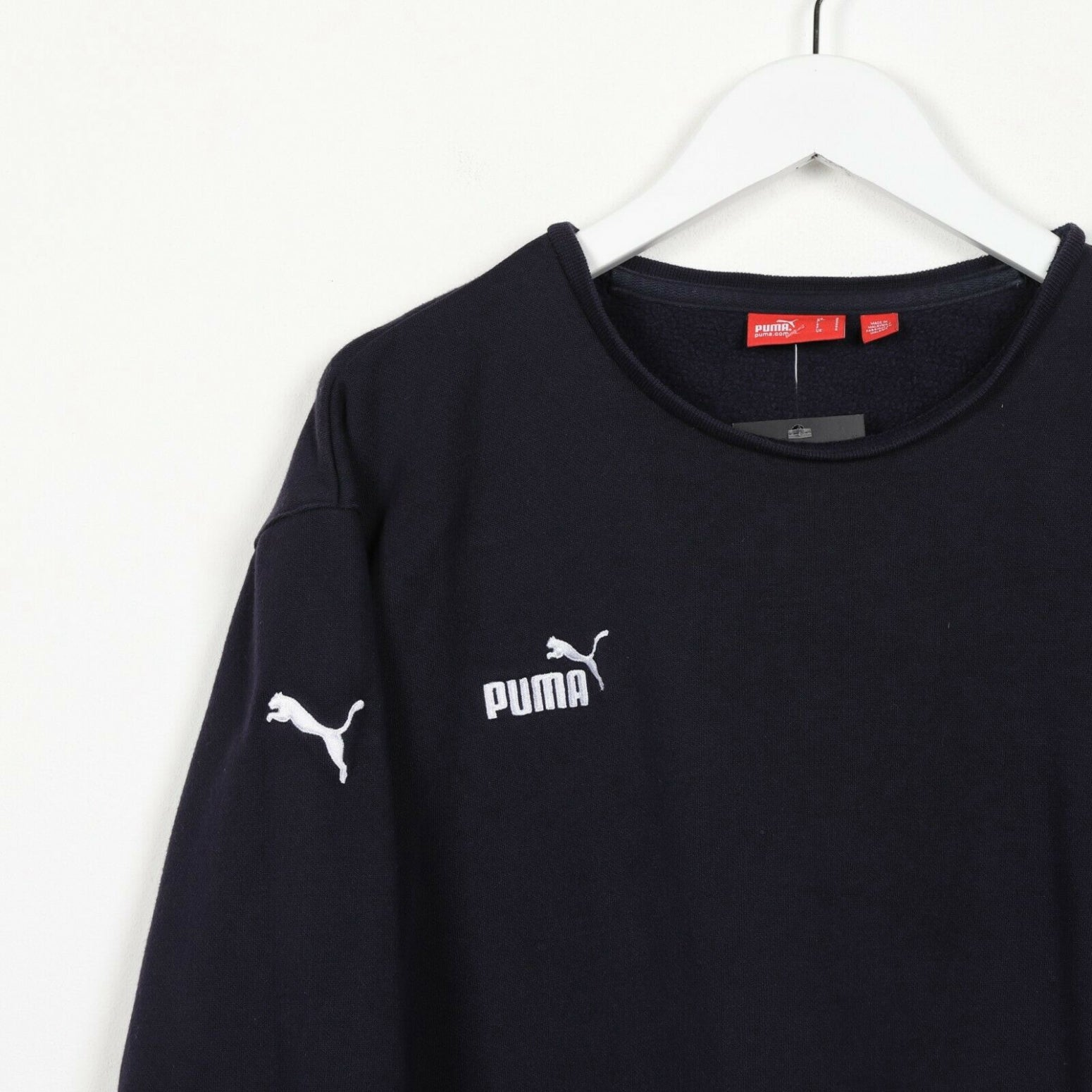 Vintage PUMA Small Logo Sweatshirt Jumper Blue | Small S
