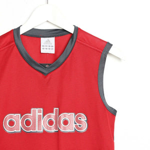 Vintage ADIDAS Mesh Spell Out Vest Red | Small S
