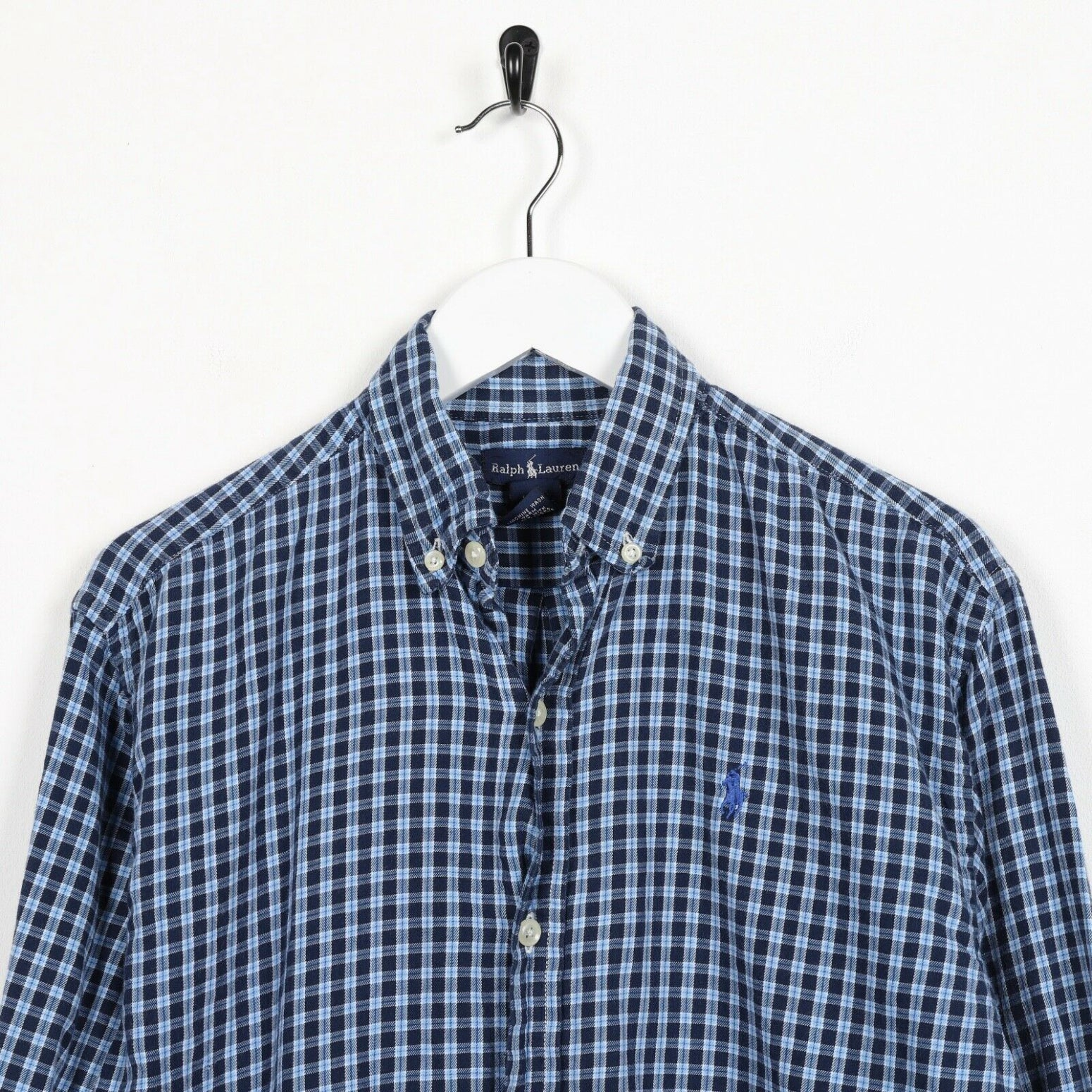 Vintage Women's RALPH LAUREN Small Logo Check Shirt Blue small s