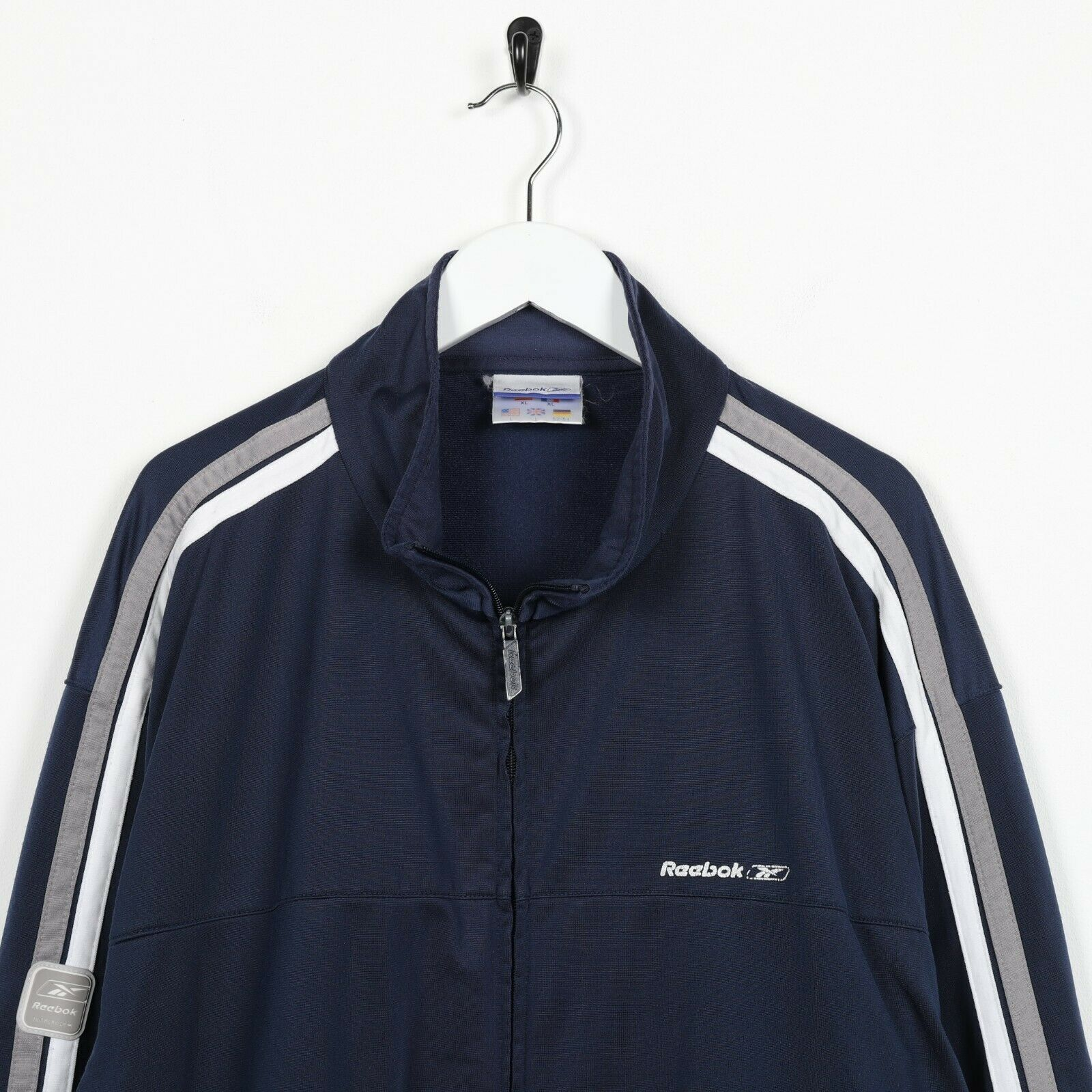 Vintage REEBOK Small Logo Zip Up Track Top Jacket Blue | Large L