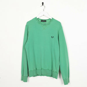 Vintage FRED PERRY Small Logo Lightweight Sweatshirt Jumper Green | Large L